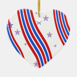 Rote weiße und blaue Streifen und Stern Keramik Herz-Ornament
