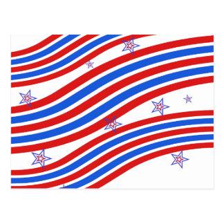 Rote weiße und blaue Streifen und Stern Postkarten