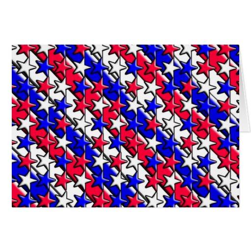 Rote, weiße und blaue Streifen und Sterne Notecard Grußkarten
