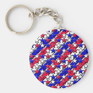 Rote, weiße und blaue Streifen und Sterne Standard Runder Schlüsselanhänger