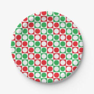 Rote, weiße und grüne Quadrate und Tupfen Pappteller