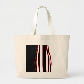 Rote, weiße und schwarze Linien Jumbo Stoffbeutel