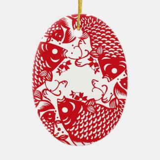 Rote Whirling Koi Karpfen-Fisch-Gruppe Keramik Ornament