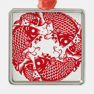 Rote Whirling Koi Karpfen-Fisch-Gruppe Silbernes Ornament