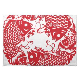 Rote Whirling Koi Karpfen-Fisch-Gruppe Stofftischset