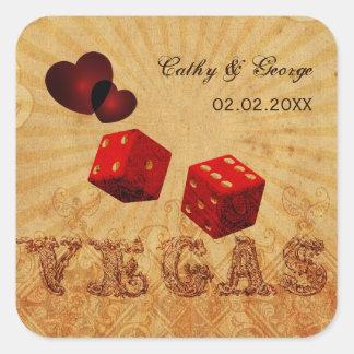 rote Würfel Vintage Vegas-Bevorzugungsaufkleber Quadratischer Aufkleber