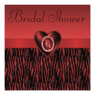 Rote Zebra-Streifen u. karminrotes Herz-Brautparty Quadratische 13,3 Cm Einladungskarte