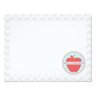 Rote Zickzack Lehrer-Post-It Apples Quatrefoil 10,8 X 14 Cm Einladungskarte