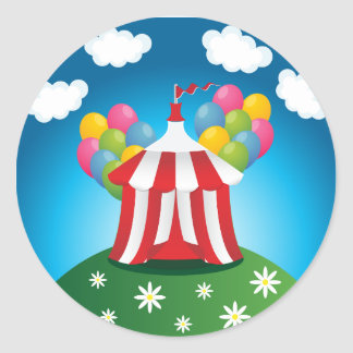 Rote Zirkus-Zelt-Aufkleber Runder Aufkleber