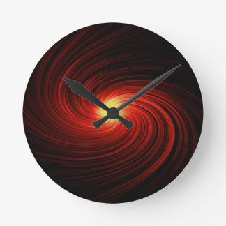 Roter abstrakter Strudel Runde Wanduhr
