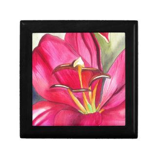 Roter Alarm-Lilie Watercolorkunst-Blumenmalerei Erinnerungskiste