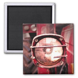 Roter alter Traktor-Licht-Magnet Quadratischer Magnet