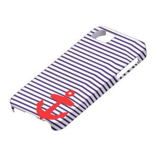 Roter Anker und marineblaue Seemanns-Streifen iPhone 5 Schutzhüllen