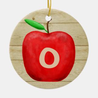 Roter Apple-Monogramm-Feiertag Keramik Ornament