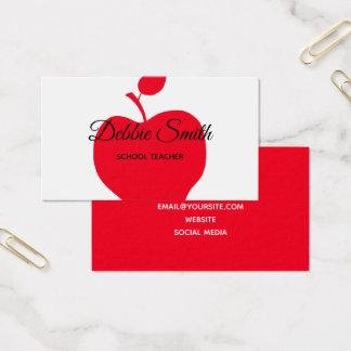 Roter Apple-Schullehrer Visitenkarte