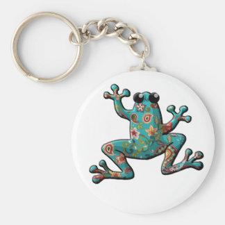 Roter aquamariner Paisley-Frosch Schlüsselanhänger