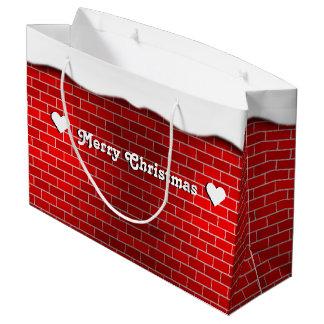 Roter Backstein mit Schnee-Antrieb - Snowy-Spitze Große Geschenktüte
