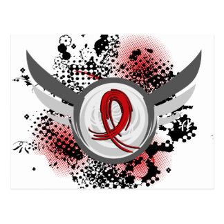 Roter Band und Flügel AIDS Postkarte