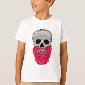 Roter Bart-Blumen-Hipster-Tag des toten Schädels T-Shirt