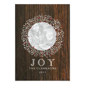 Roter Beeren-Kranz + Scheunen-Holz-Weihnachten 12,7 X 17,8 Cm Einladungskarte