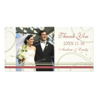 Roter beige Strudel danken Ihnen Hochzeits-Foto-Ka Fotokarten