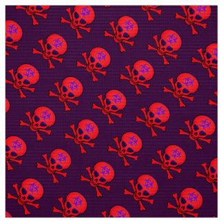Roter Biogefährdung-Schädel und gekreuzte Knochen Stoff