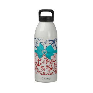 Roter blauer Seeanker-Glitter-Foto-Druck Wasserflaschen