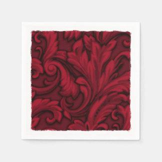 Roter Blendungs-Damast Papierserviette