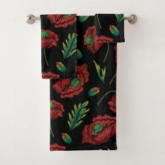 Roter Blumen-Muster-Imitat-Stich Badhandtuch Set