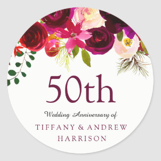 Roter BlumenBoho 50. Hochzeitstag Burgunders Runder Aufkleber