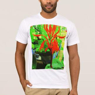 Roter Blumengrünentwurf T-Shirt