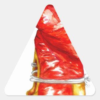 Roter Boxhandschuh Dreieckiger Aufkleber