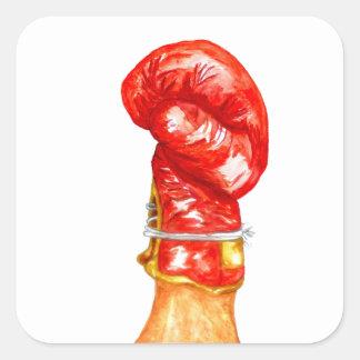 Roter Boxhandschuh Quadratischer Aufkleber