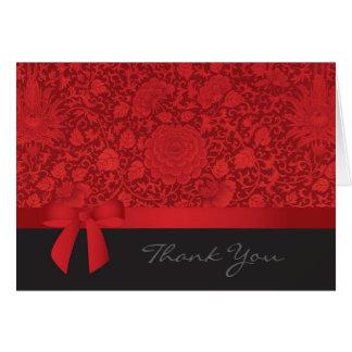 Roter Brokat danken Ihnen Karte