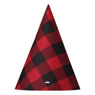 Roter Büffel-karierte Party-Hüte Partyhütchen
