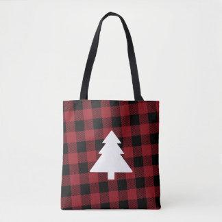Roter Büffel-karierte Weihnachtsbaum-Tasche Tasche