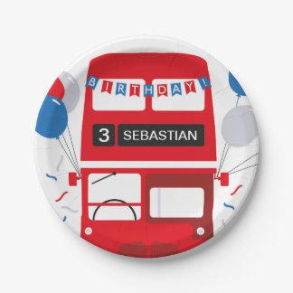 Roter Bus-Geburtstags-personalisierte Papierplatte Pappteller