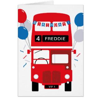 Roter Bus-personalisierte Alters-Geburtstags-Karte Karte