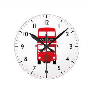 Roter Bus-personalisierte nummerierte Uhr Londons