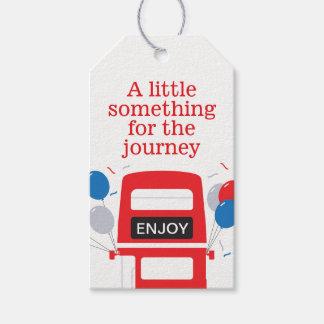 Roter Bus-personalisierte Party-Geschenk-Umbauten Geschenkanhänger