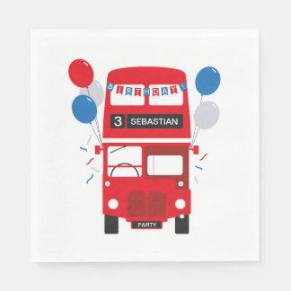 Roter Bus-personalisierter Serviette