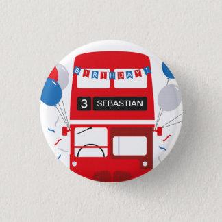 Roter Bus-personalisiertes Geburtstags-Abzeichen Runder Button 3,2 Cm