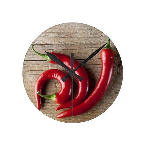 Roter Chili-Pfeffer Wanduhr