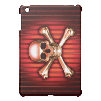 Roter Chrom-Totenkopf mit gekreuzter Knochen iPad Mini Hülle