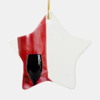 Roter Cowgirl-Stiefel-Western-Weinglas-Wein Keramik Ornament