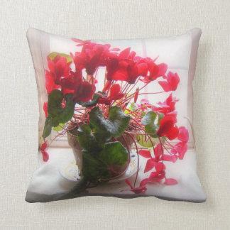 Roter Cyclamen in der Blume Kissen