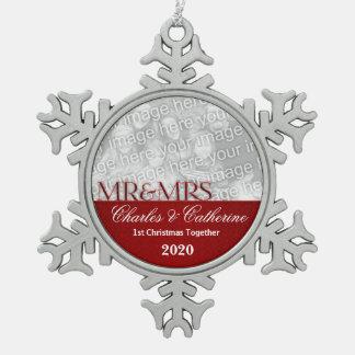 Roter Damast-1. Weihnachtszusammen Foto Schneeflocken Zinn-Ornament