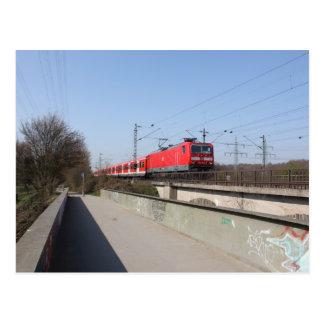 Roter deutscher Zug Postkarte