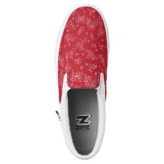Roter ditsy Mistelzweigfeiertag gemusterter Zipz Slip-On Sneaker