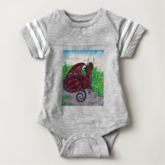 Roter Drache Dragoness hochrotes Fantasie-Monster Baby Strampler